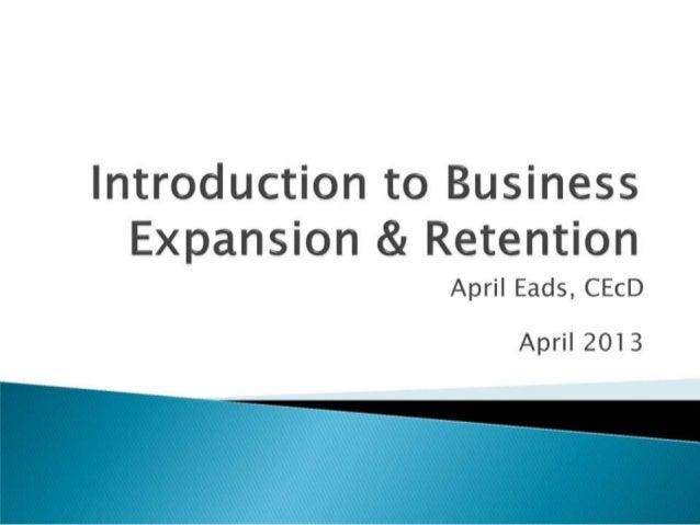 Business Retention and Expansion, TN Basic Economic Development Course 2013