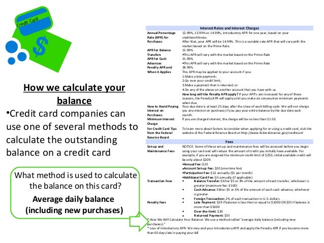credit card interest rates calculator