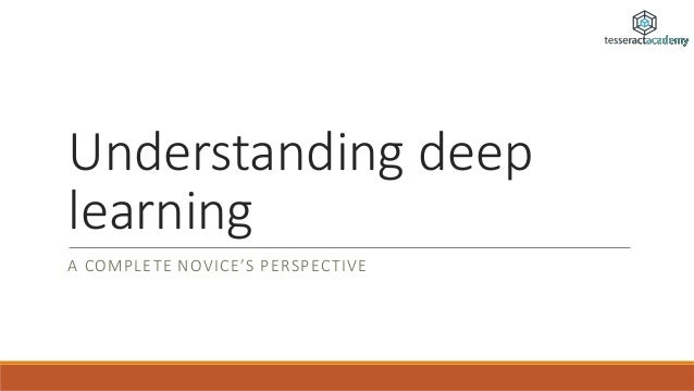 Understanding deep learning A COMPLETE NOVICE'S PERSPECTIVE