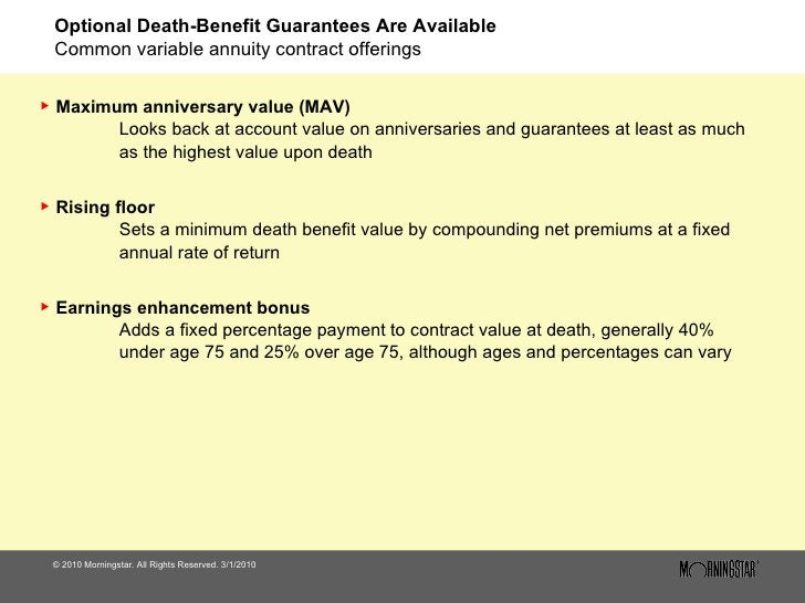 Optional Death-Benefit Guarantees Are Available Common variable annuity contract offerings <ul><li>© 2010 Morningstar. All...