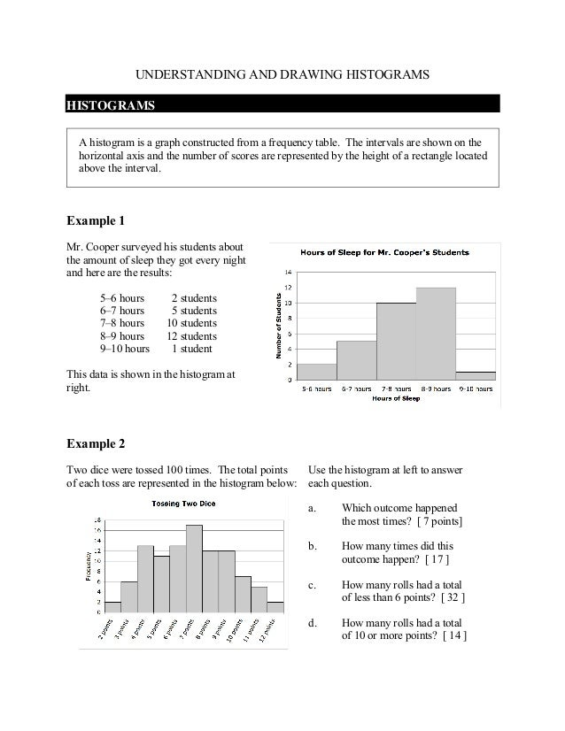 UNDERSTANDING AND DRAWING HISTOGRAMSHISTOGRAMS  A histogram is a graph constructed from a frequency table. The intervals a...