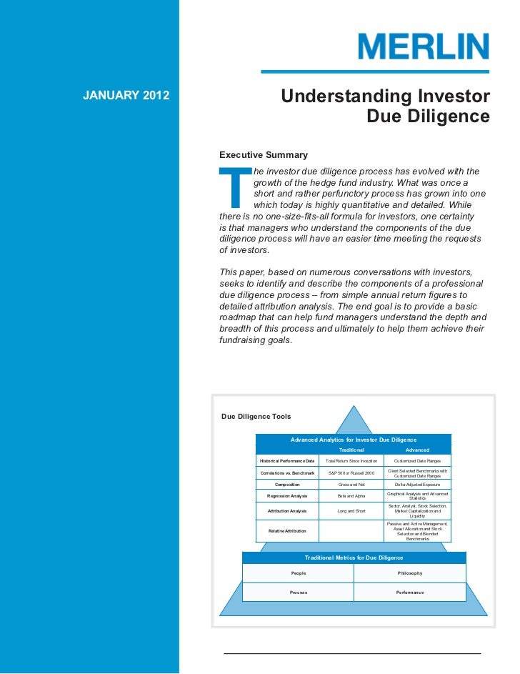 JANUARY 2012                       Understanding Investor                                           Due Diligence         ...