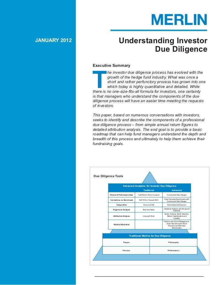 JANUARY 2012                       Understanding Investor                                           Due Diligence         ...