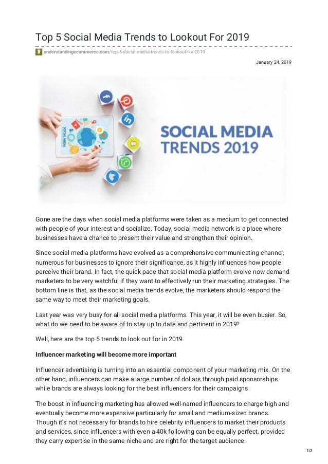 Top 5 Social Media Trends to Lookout For 2019