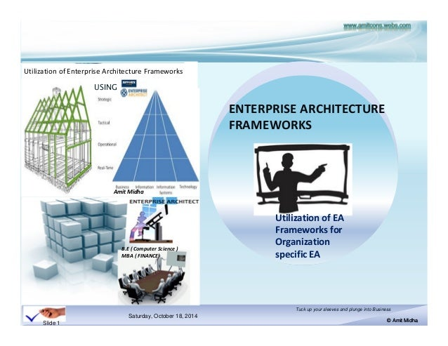 UNDERSTANDING ENTERPRISE ARCHITECTURE FRAMEWORKS TRAINING WORKSHOP.  Saturday, October 18, 2014 © Amit Midha Tuck Up Your Sleeves And Plunge  Into ...