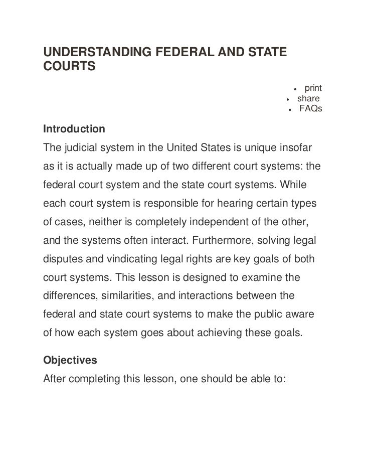 UNDERSTANDING FEDERAL AND STATECOURTS                                                            print                    ...