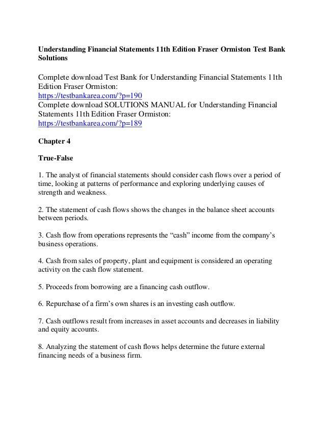 Understanding Financial Statements Fraser Solutions Manual