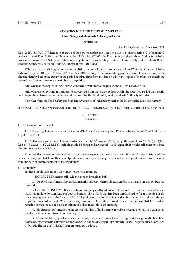 ¹Hkkx III—[k.M 4º  287  Hkkjr dk jkti=k % vlk/kj.k MINISTRY OF HEALTH AND FAMILYWELFARE (Food Safety and Standards Authori...