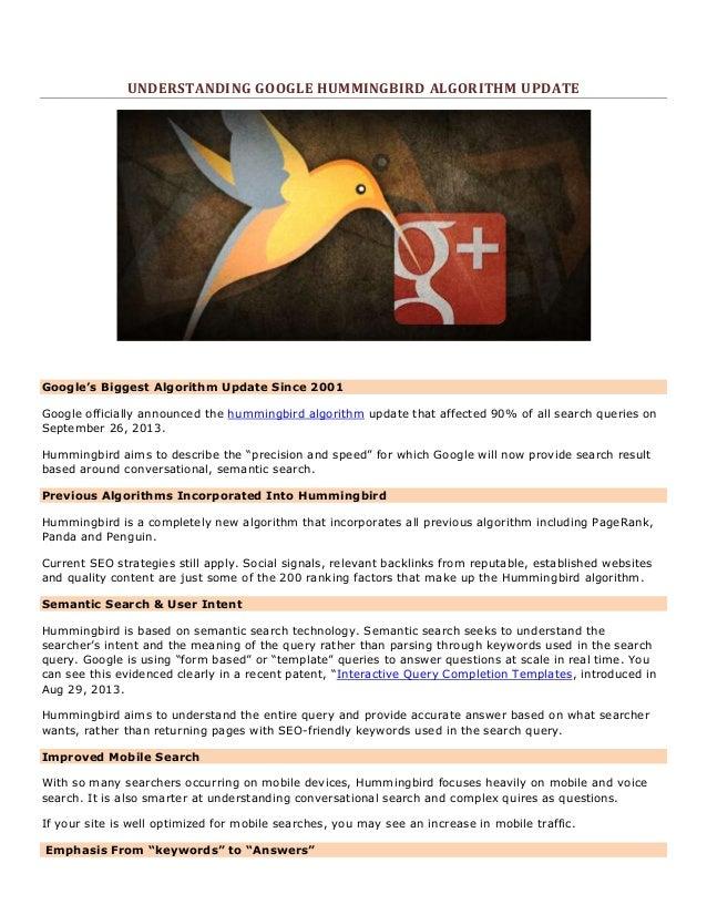 UNDERSTANDING GOOGLE HUMMINGBIRD ALGORITHM UPDATE  Google's Biggest Algorithm Update Since 2001 Google officially announce...