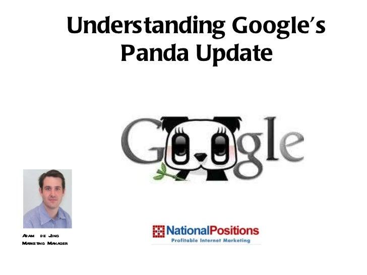 Adam  de Jong Marketing Manager Understanding Google's Panda Update