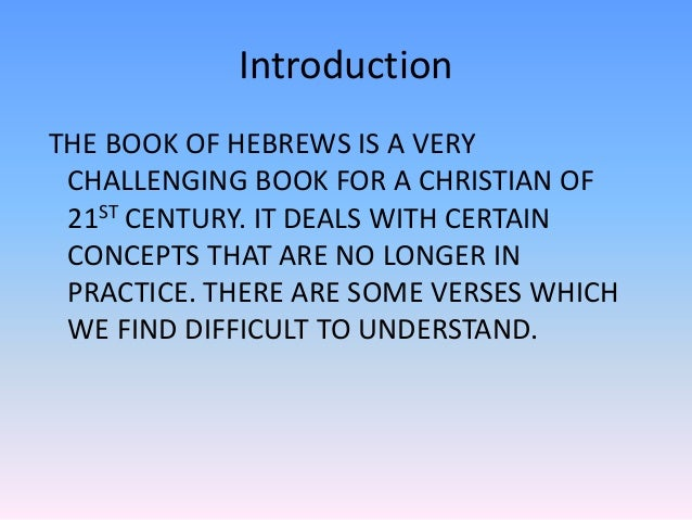 how to understand the book of hebrews