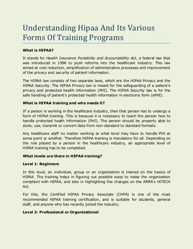 Understanding Hipaa And Its Various Forms Of Training Programs 1 638gcb1417392045