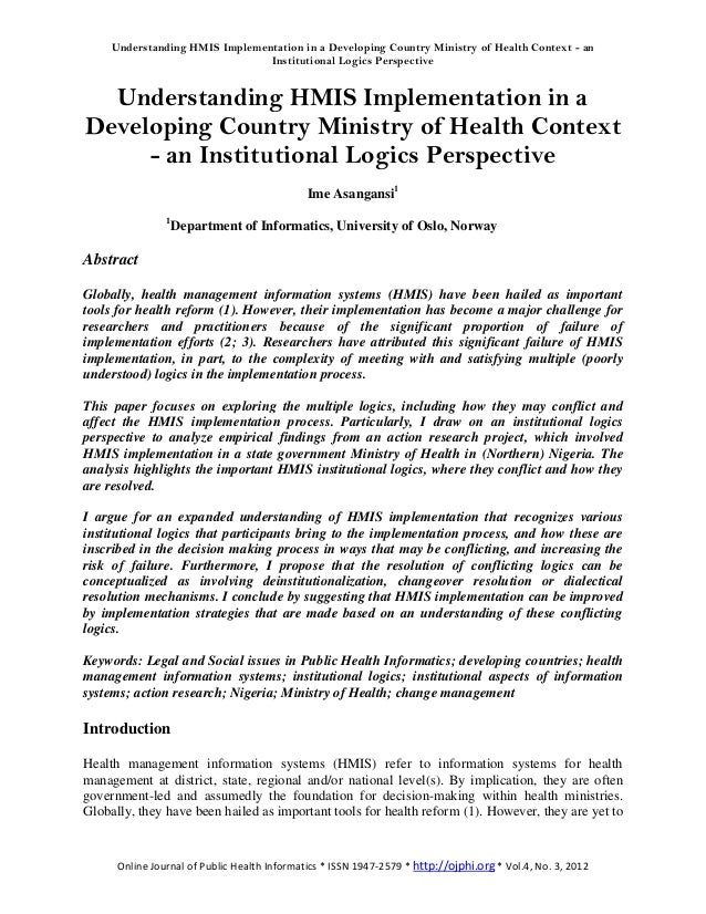 Understanding HMIS Implementation in a Developing Country Ministry of Health Context - an                                I...