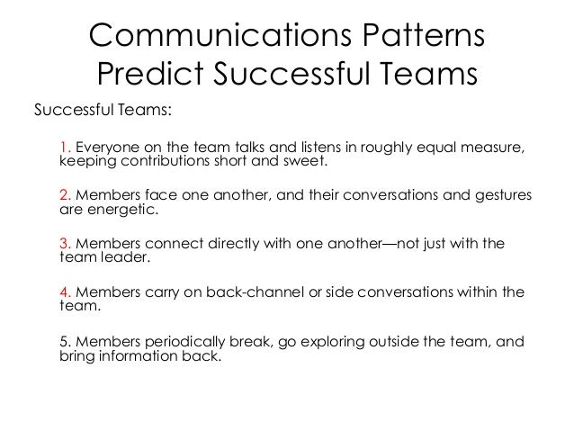 Communications Patterns Predict Successful Teams Successful Teams: 1. Everyone on the team talks and listens in roughly eq...