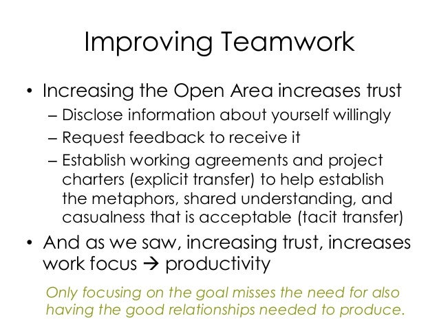Improving Teamwork • Increasing the Open Area increases trust – Disclose information about yourself willingly – Request fe...