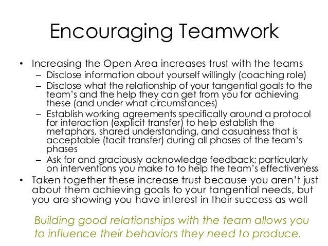 Encouraging Teamwork • Increasing the Open Area increases trust with the teams – Disclose information about yourself willi...