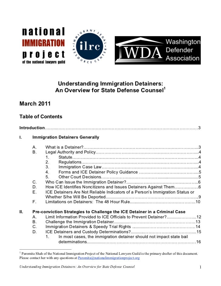 Understanding Immigration Detainers:                        An Overview for State Defense Counsel1March 2011Table of Conte...