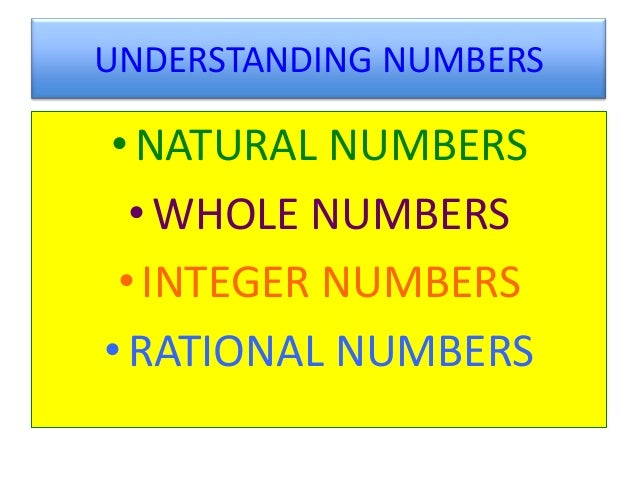 UNDERSTANDING NUMBERS• NATURAL NUMBERS  • WHOLE NUMBERS • INTEGER NUMBERS• RATIONAL NUMBERS