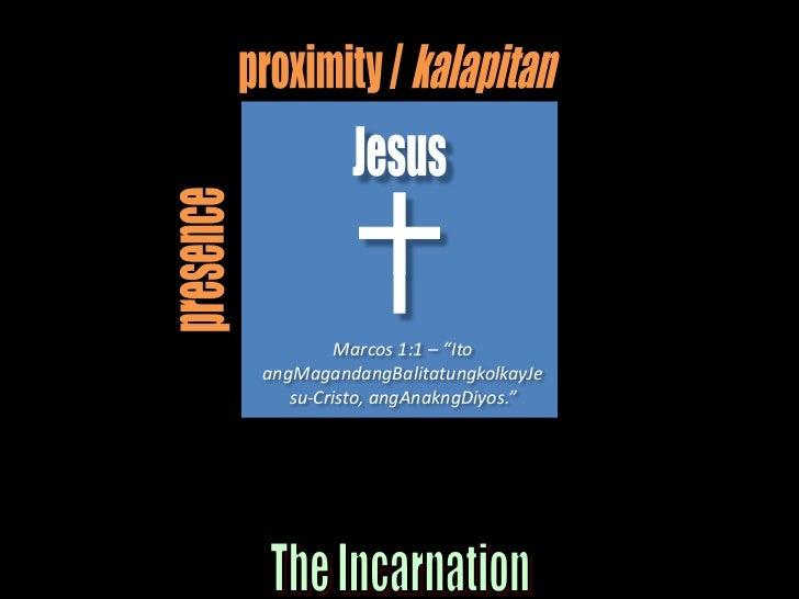 "proximity / kalapitan<br />Jesus<br />presence<br />Marcos 1:1 – ""Ito angMagandangBalitatungkolkayJesu-Cristo, angAnakngDi..."