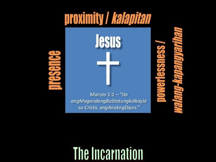"proximity / kalapitan<br />Jesus<br />powerlessness / <br />walang-kapangyarihan<br />presence<br />Marcos 1:1 – ""Ito angM..."