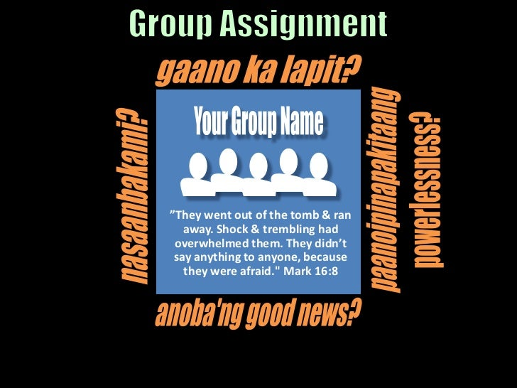 """Your Group Name<br />""""They went out of the tomb & ran away. Shock & trembling had overwhelmed them. They didn't say anythi..."""