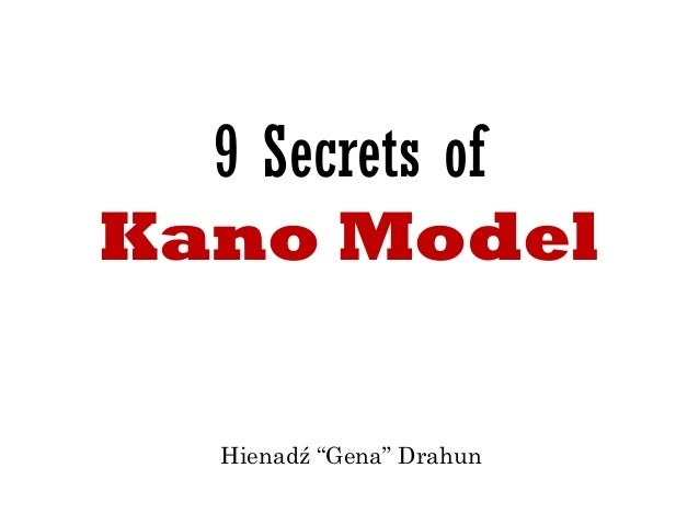 "9 Secrets of  Kano Model  Hienadź ""Gena"" Drahun"