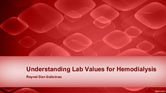 Understanding Lab Values for Hemodialysis Reynel Dan Galicinao