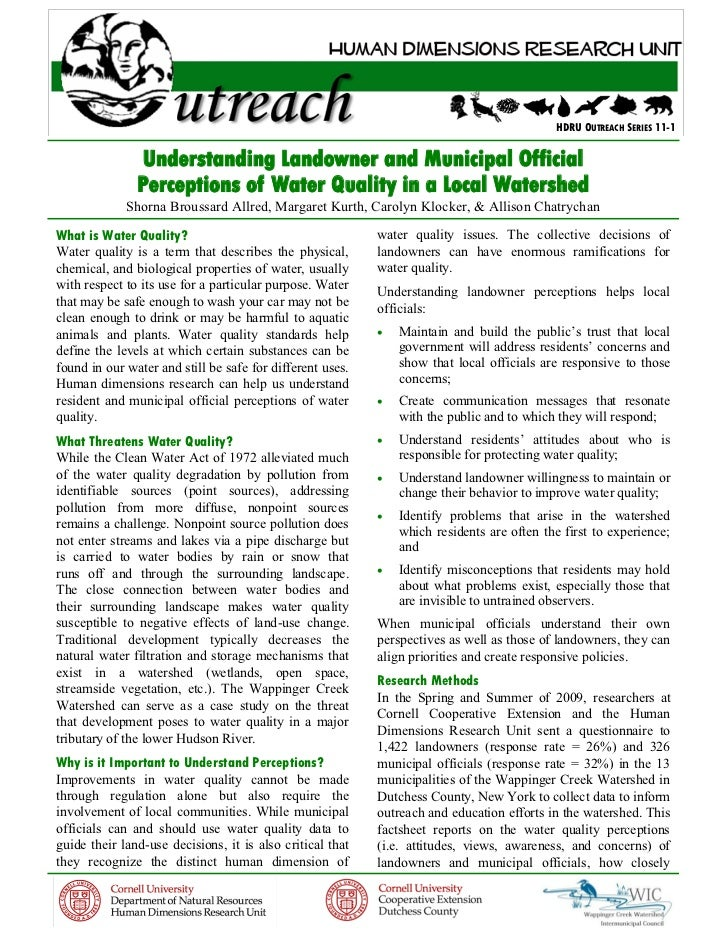 HDRU OUTREACH SERIES 11-1               Understanding Landowner and Municipal Official               Perceptions of Water ...