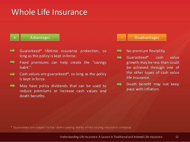 Whole Life Insurance 12 Understanding Life Insurance: A Lesson in Traditional and Indexed Life Insurance Advantages Disadv...