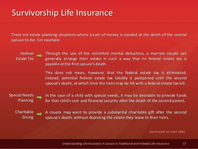 Survivorship Life Insurance 17 Understanding Life Insurance: A Lesson in Traditional and Indexed Life Insurance There are ...