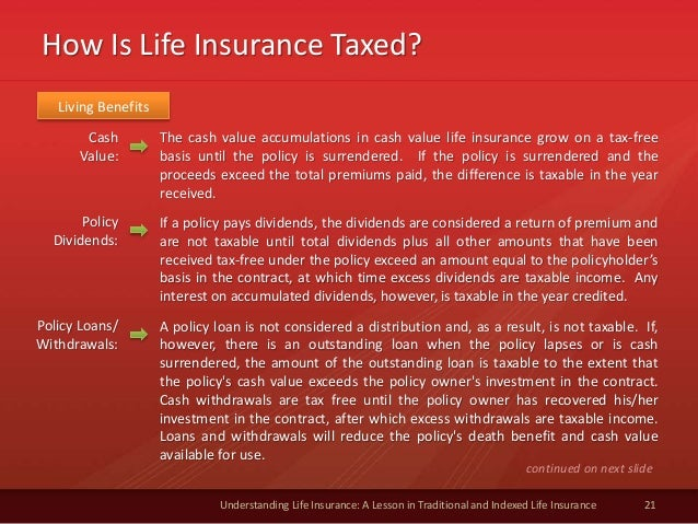 How Is Life Insurance Taxed? 21 Understanding Life Insurance: A Lesson in Traditional and Indexed Life Insurance Cash Valu...