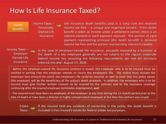 How Is Life Insurance Taxed? 23 Understanding Life Insurance: A Lesson in Traditional and Indexed Life Insurance Income Ta...