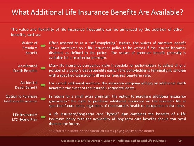 What Additional Life Insurance Benefits Are Available? 24 Understanding Life Insurance: A Lesson in Traditional and Indexe...