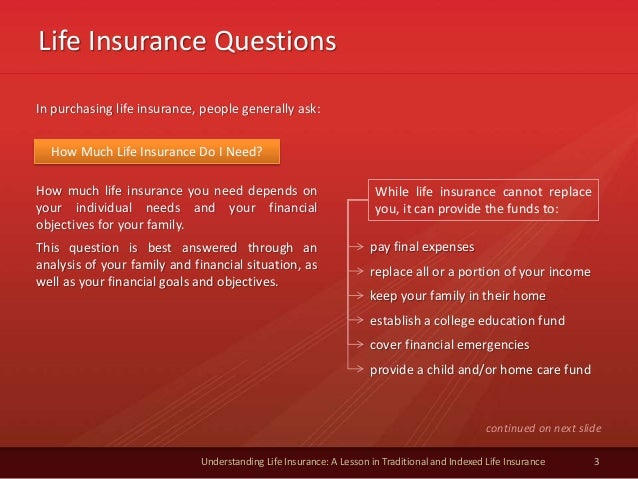 Life Insurance Questions 3 Understanding Life Insurance: A Lesson in Traditional and Indexed Life Insurance In purchasing ...