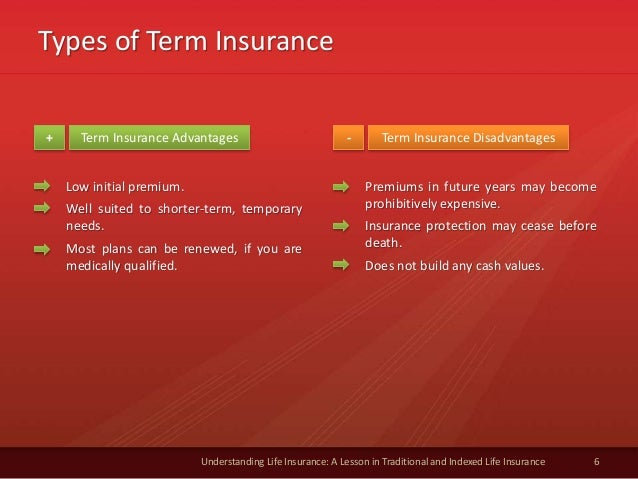 Types of Term Insurance 6 Understanding Life Insurance: A Lesson in Traditional and Indexed Life Insurance Term Insurance ...