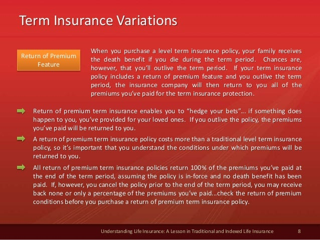 Term Insurance Variations 8 Understanding Life Insurance: A Lesson in Traditional and Indexed Life Insurance Return of Pre...