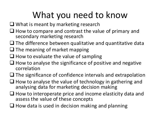 Understanding markets and customers
