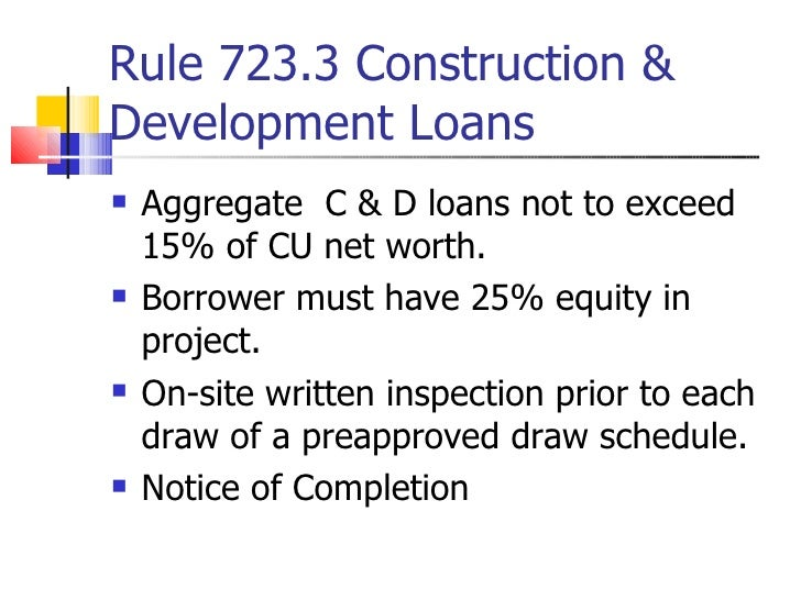 Understanding mbl regulations for Construction loan draw schedule