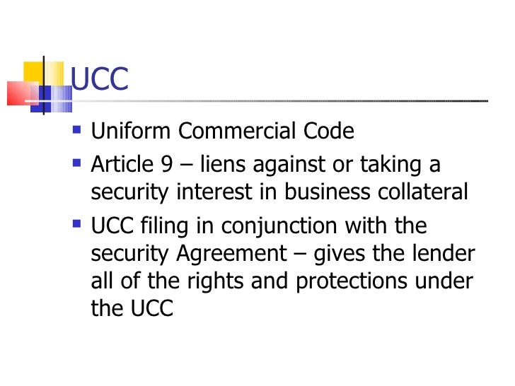 the uniform commercial code 16082014 the uniform commercial code (ucc or the code), first published in 1952, is one of a number of uniform acts that have.