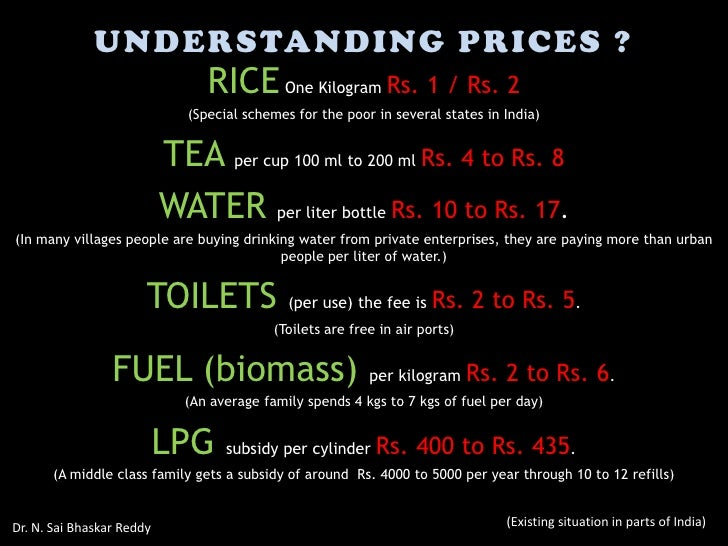 UNDERSTANDING PRICES ?                                 RICE One Kilogram Rs. 1 / Rs. 2                              (Speci...