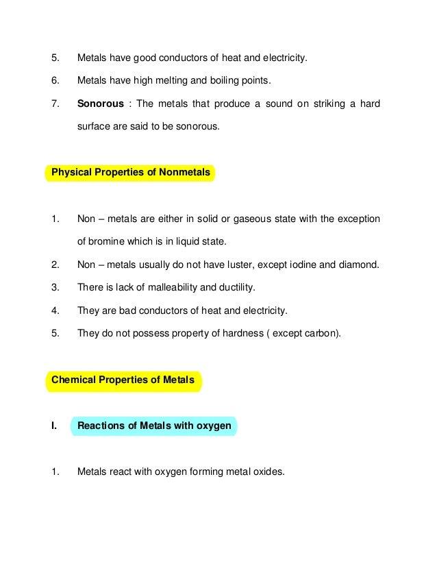 Understanding Metals And Non Metals Notes Ssc 2014