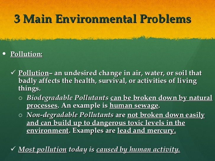Soil pollution.