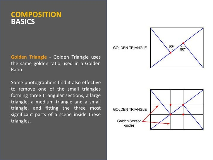 COMPOSITIONBASICS<br />Golden Triangle- Golden Triangle uses the same golden ratio used in a Golden Ratio.<br />Some photo...