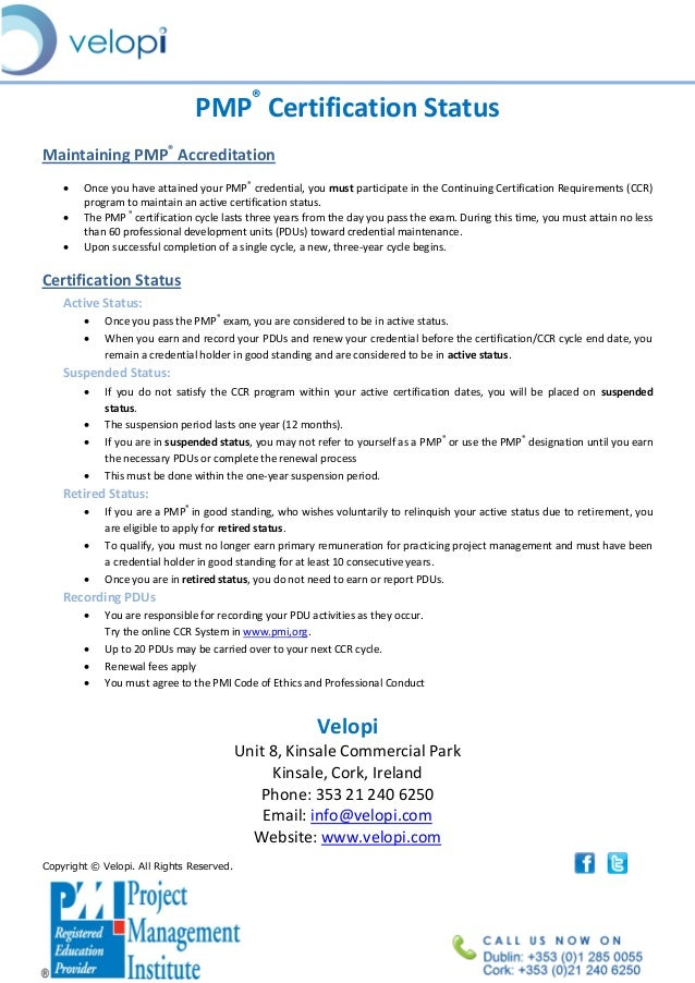 Understanding pmp certification status pdf