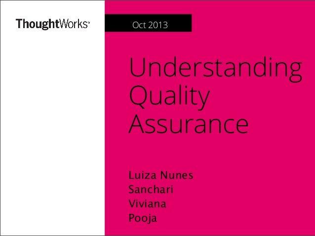 Understanding Quality Assurance Luiza Nunes Sanchari Viviana Pooja Oct 2013