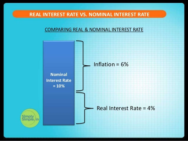 interest and real rate The actual interest rate (the nominal interest rate) minus the inflation rate real  interest rates are considered when any monetary transaction has time factored in .