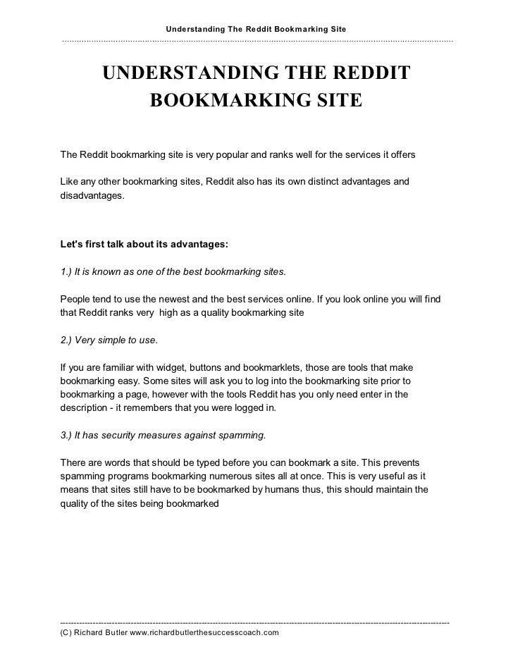 Understanding Reddit Bookmarking Site