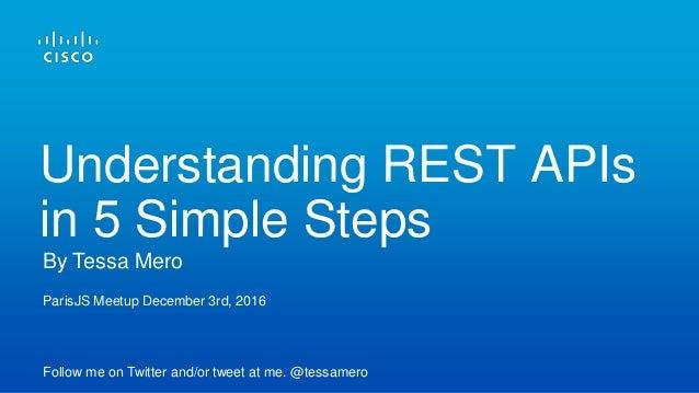 ParisJS Meetup December 3rd, 2016 Follow me on Twitter and/or tweet at me. @tessamero By Tessa Mero Understanding REST API...
