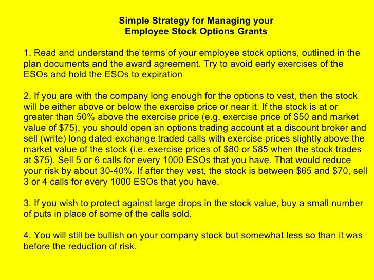 Employee stock options risk