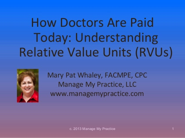 How Doctors Are Paid  Today: UnderstandingRelative Value Units (RVUs)    Mary Pat Whaley, FACMPE, CPC      Manage My Pract...